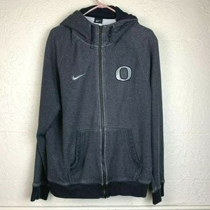 Nike Oregon Ducks Hoodie Mens XL Gray Full Zip